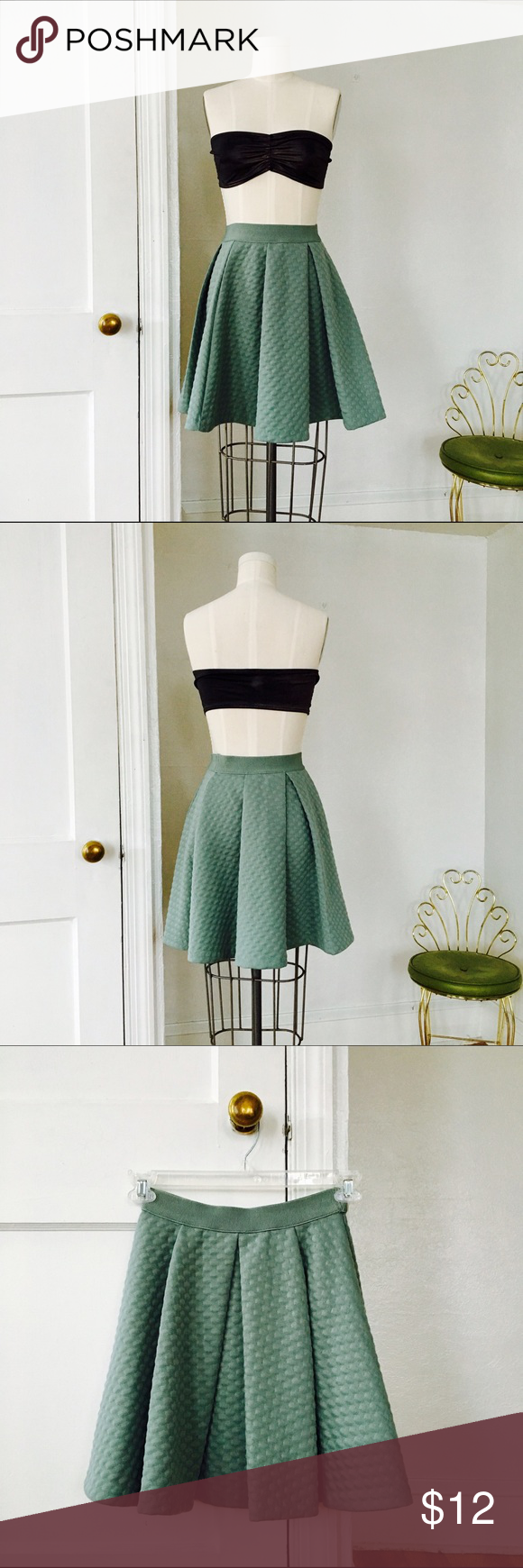 Textured Full Skater Skirt in Kitsch Mint A very very darling skirt.  I like how full the folds make it and how thick and sturdy the fabric is.  In like new condition.  Wearing this will put you in the Raddest mood. H&M Skirts Circle & Skater