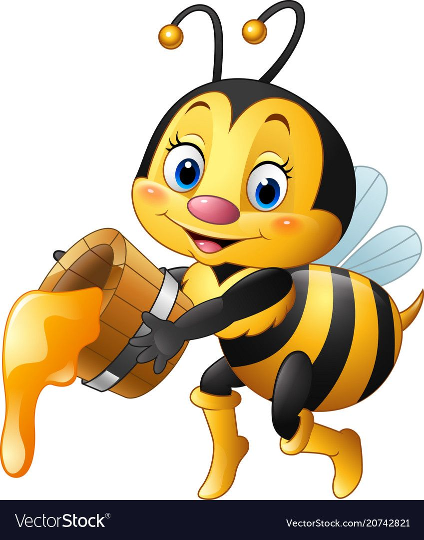 Vector Illustration Ofcartoon Bee Holding Bucket With Honey Dripping Download A Free Preview Or High Quality Adobe Cartoon Bee Honey Bee Cartoon Bee Pictures