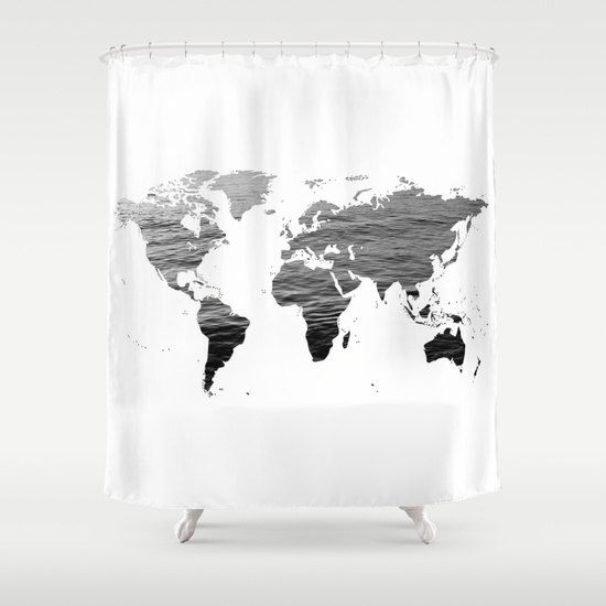 Ocean Texture Map Shower Curtain, Black White Bathroom, Home Decor, World  Map Shower Curtain,Educational Shower Curtain, Dorm Shower Curtain