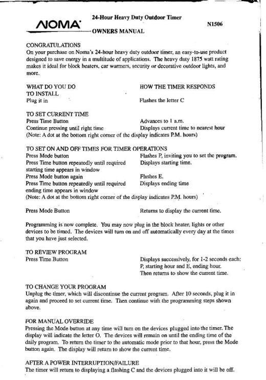 NOMA Christmas light timer instructions (model ET525C) | vintage ...
