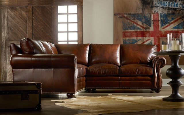 High End Leather Sectional From North