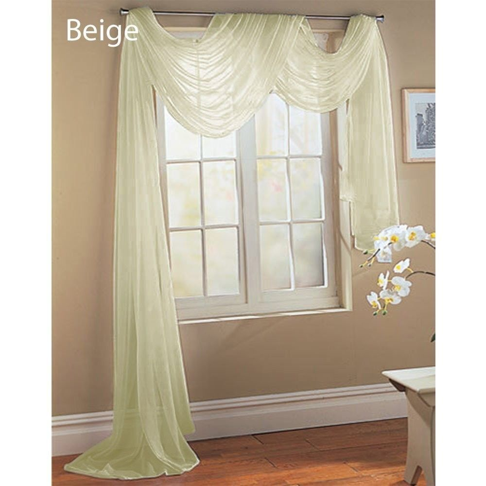 Sheer Scarf Valance Window Treatments Part - 16: Beige Ivory Off White Scarf Sheer Voile Window Treatment Curtain Drapes  Valance | EBay THIS IS