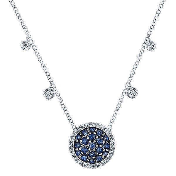 14k White Gold Diamond And Sapphire Fashion Necklace #NK5331W45SA