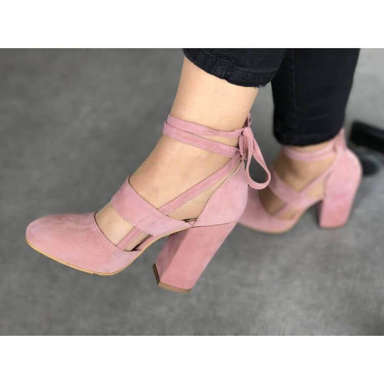 Leila Suede – Pink | Pink block heel
