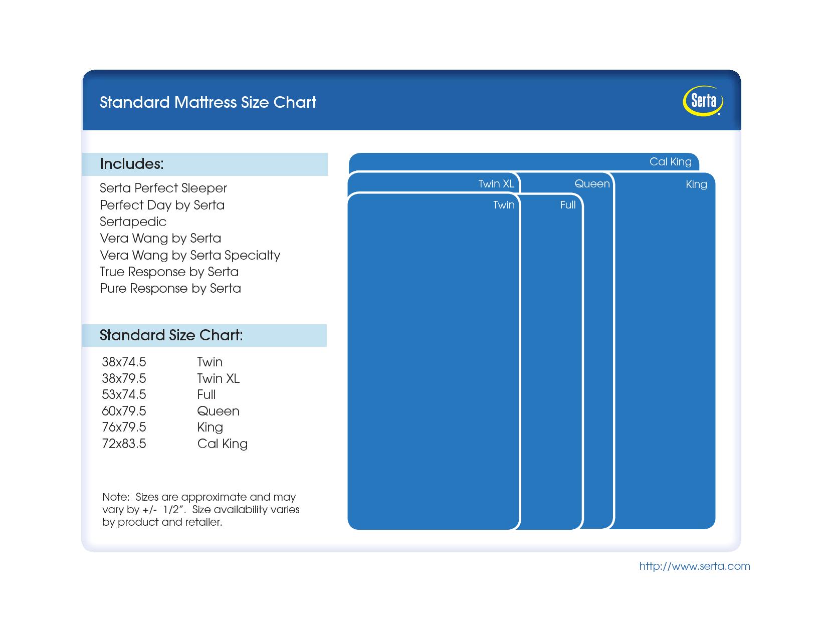 Standard Mattress Size Chart Bing Images