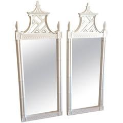 Vintage Newly Lacquered Pair Pagoda Wall Mirrors Faux Bamboo Chinese Chippendale