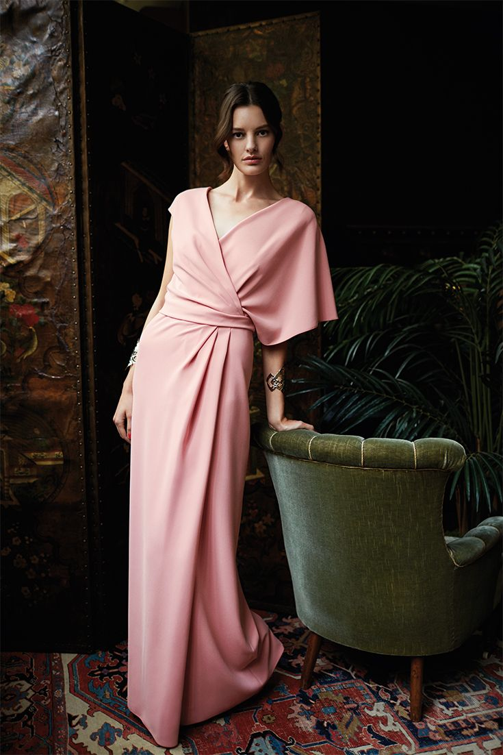CHOPIN, fluid long cady dress with draped motif stopped at the waist and asymmetric sleeve.