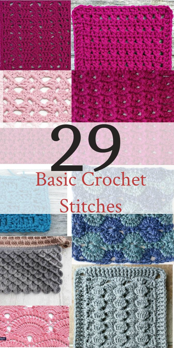 20 Basic Crochet Stitches Crochet Stitches Techniques Crochet