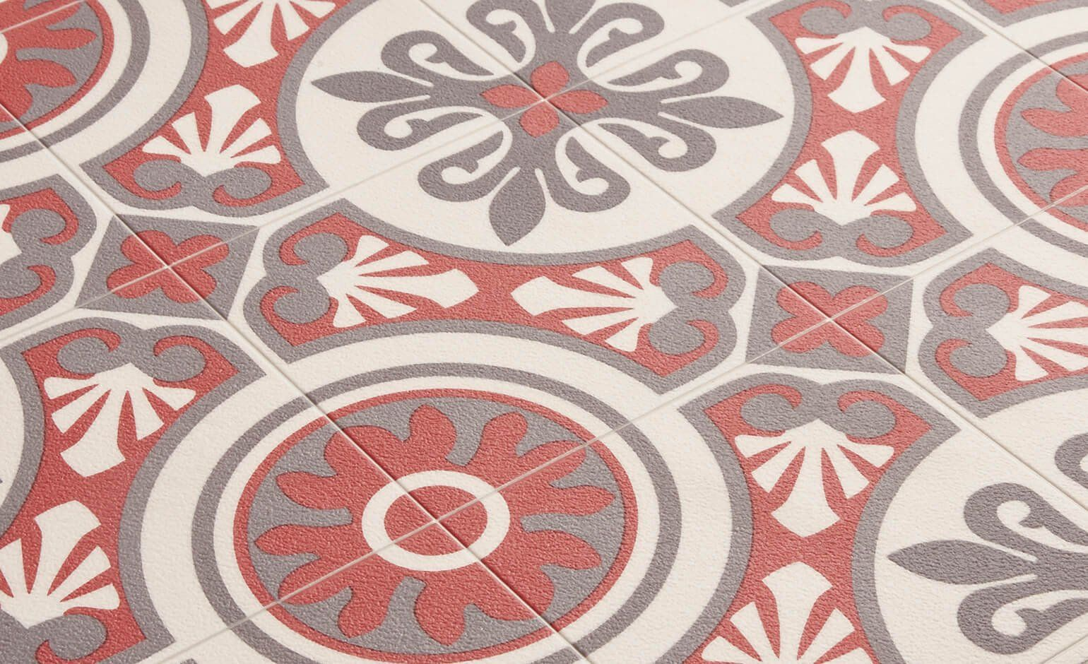 Sol vinyle emotion carreau ciment rouge et gris rouleau for Tapis carreaux de ciment saint maclou