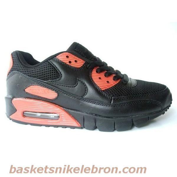 more photos ad0ae b911f Chaussures Nike Air Max 90 Hommes Noir et Rouge Air Max Homme ...