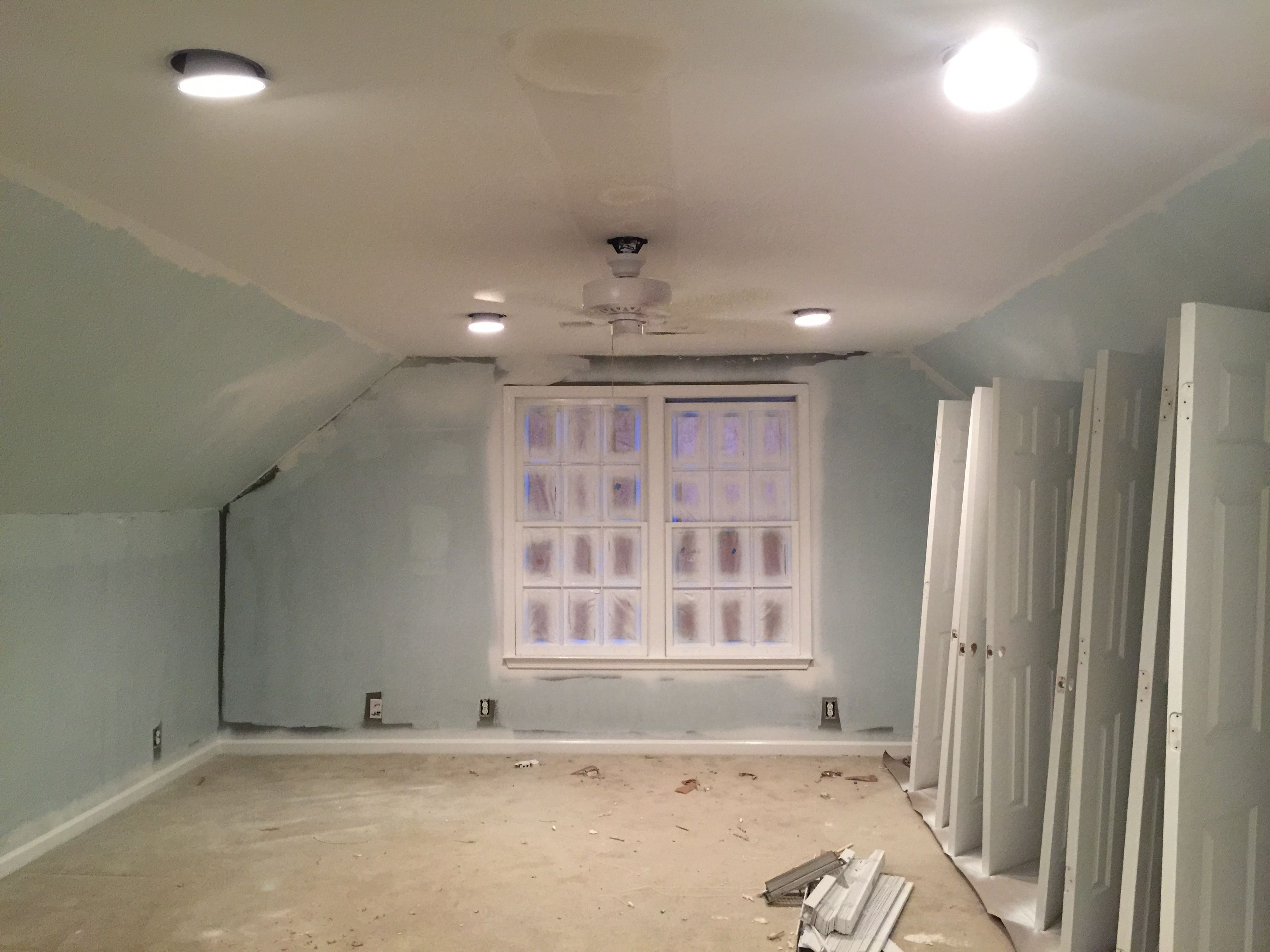 BONUS ROOM-IN PROGRESS-  We have added recessed lighting, updated to a nice bright color, added a white ceiling fan