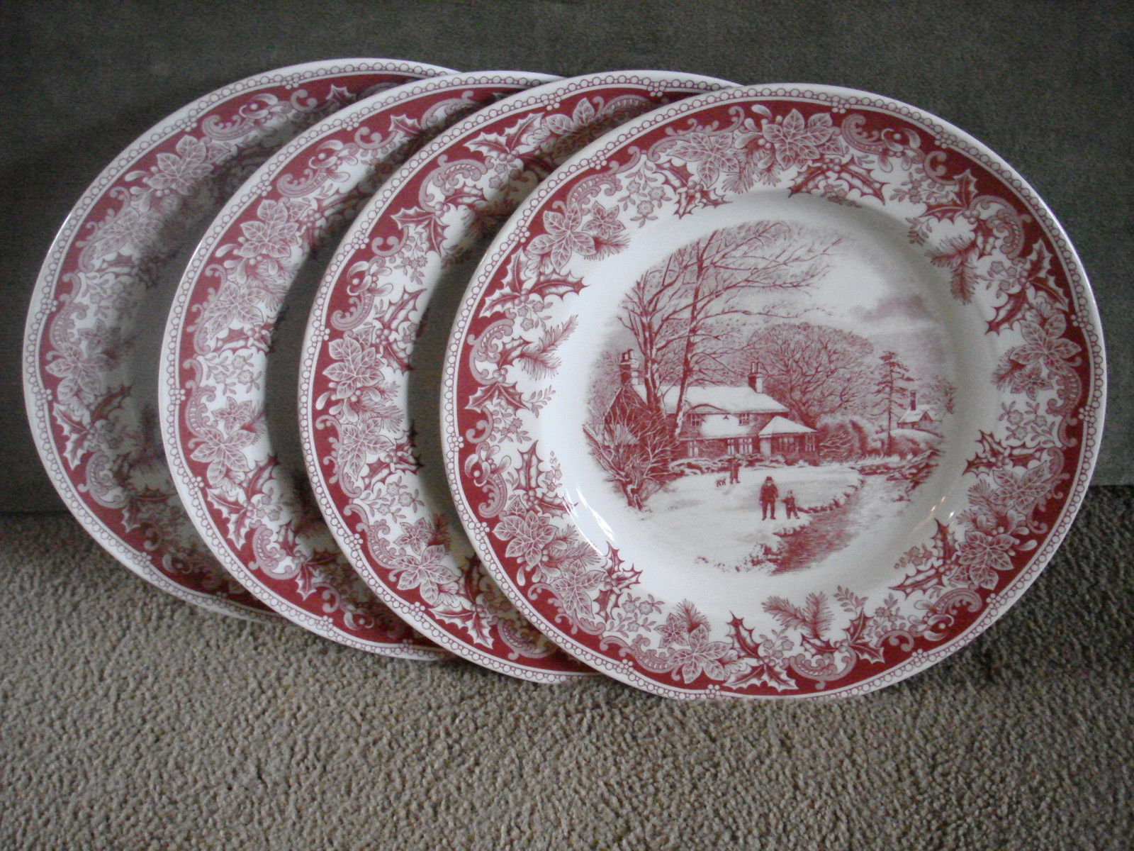 Spode Winteru0027s Eve Dinner Plates Thanksgiving Christmas Cranberry Red New Set 4 | eBay Love these & SPODE WINTERu0027S EVE DINNER PLATES THANKSGIVING CHRISTMAS CRANBERRY ...
