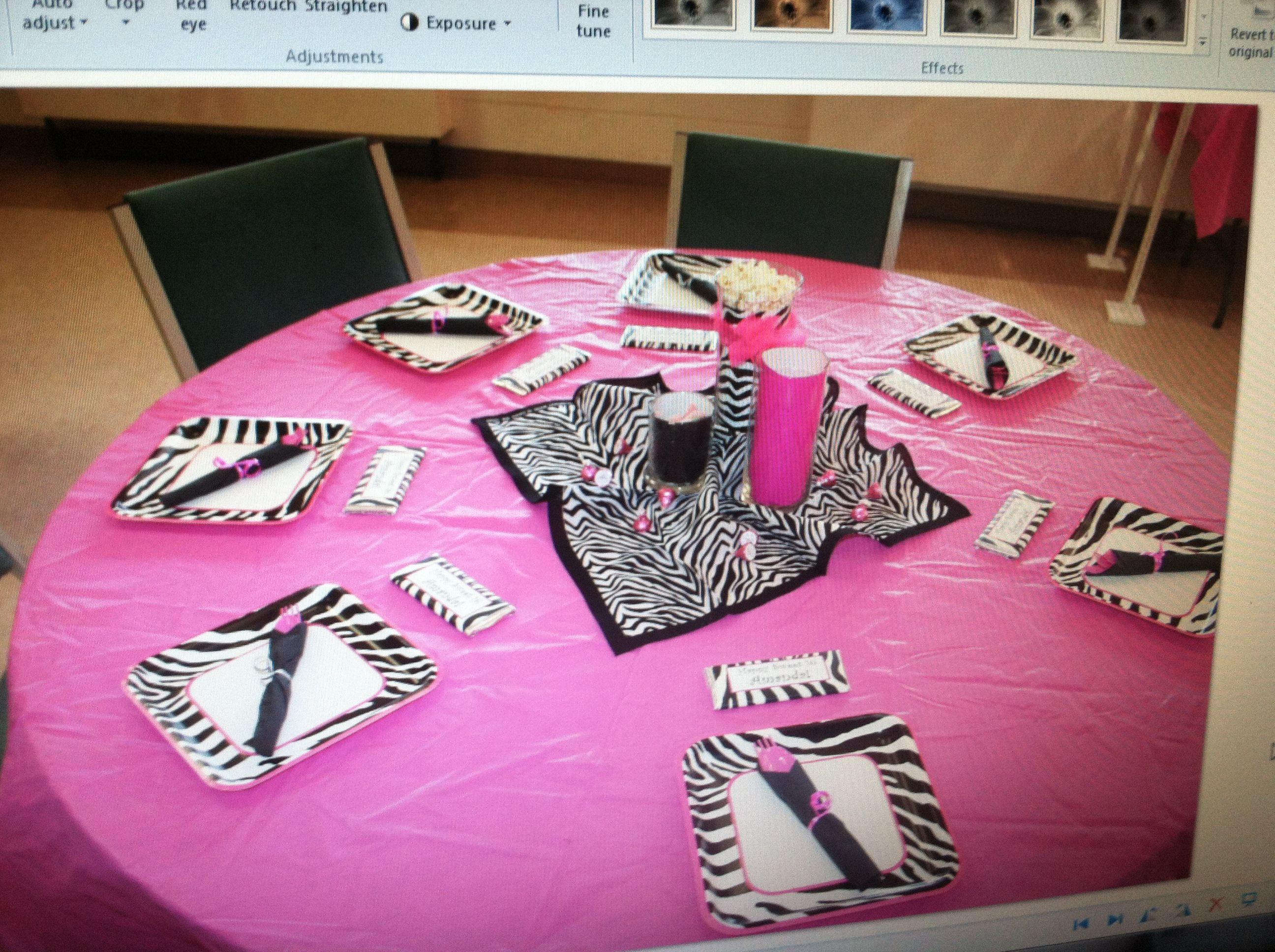 Used Hot Pink Tablecloths From Hobby Lobby Added A Zebra Print