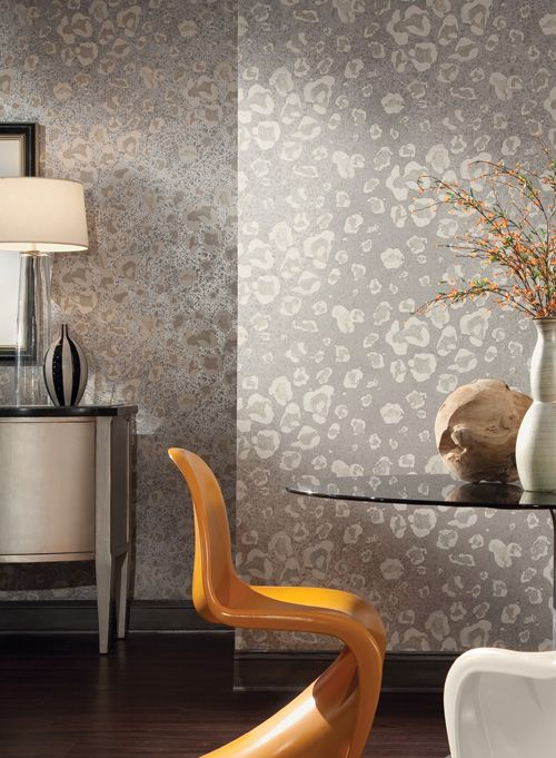 The Risky Business wallpaper Collection from York Wallcoverings has both cheetah and zebra print wallpaper.