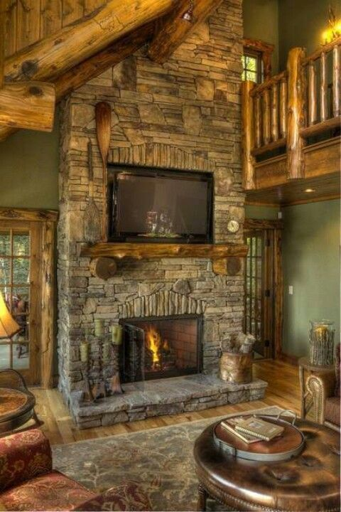 Pin By Loghomelinks Com On Home Ideas Cabin Fireplace Log Homes Rustic Fireplaces