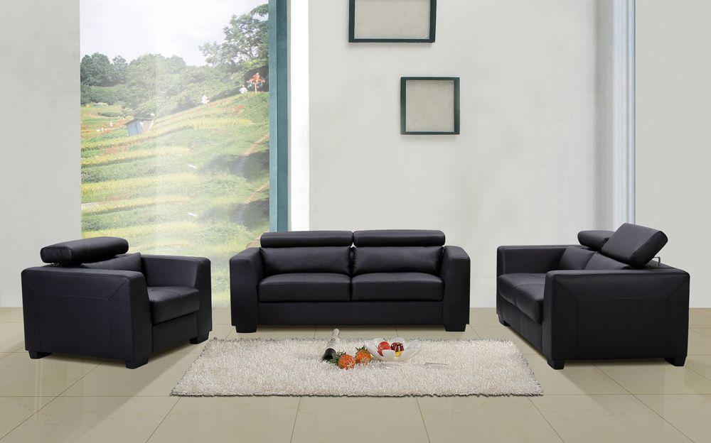 Shanghai Modern Living Room Set In Black Leather Modern Living Room Set Living Room Sets Leather Living Room Set