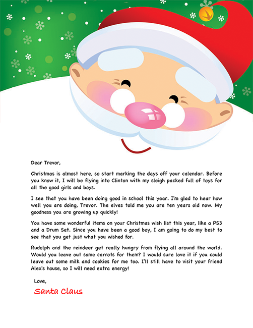 Letter from santa paper writing pinterest santa letter santa letter example personalized letters from santa spiritdancerdesigns Choice Image
