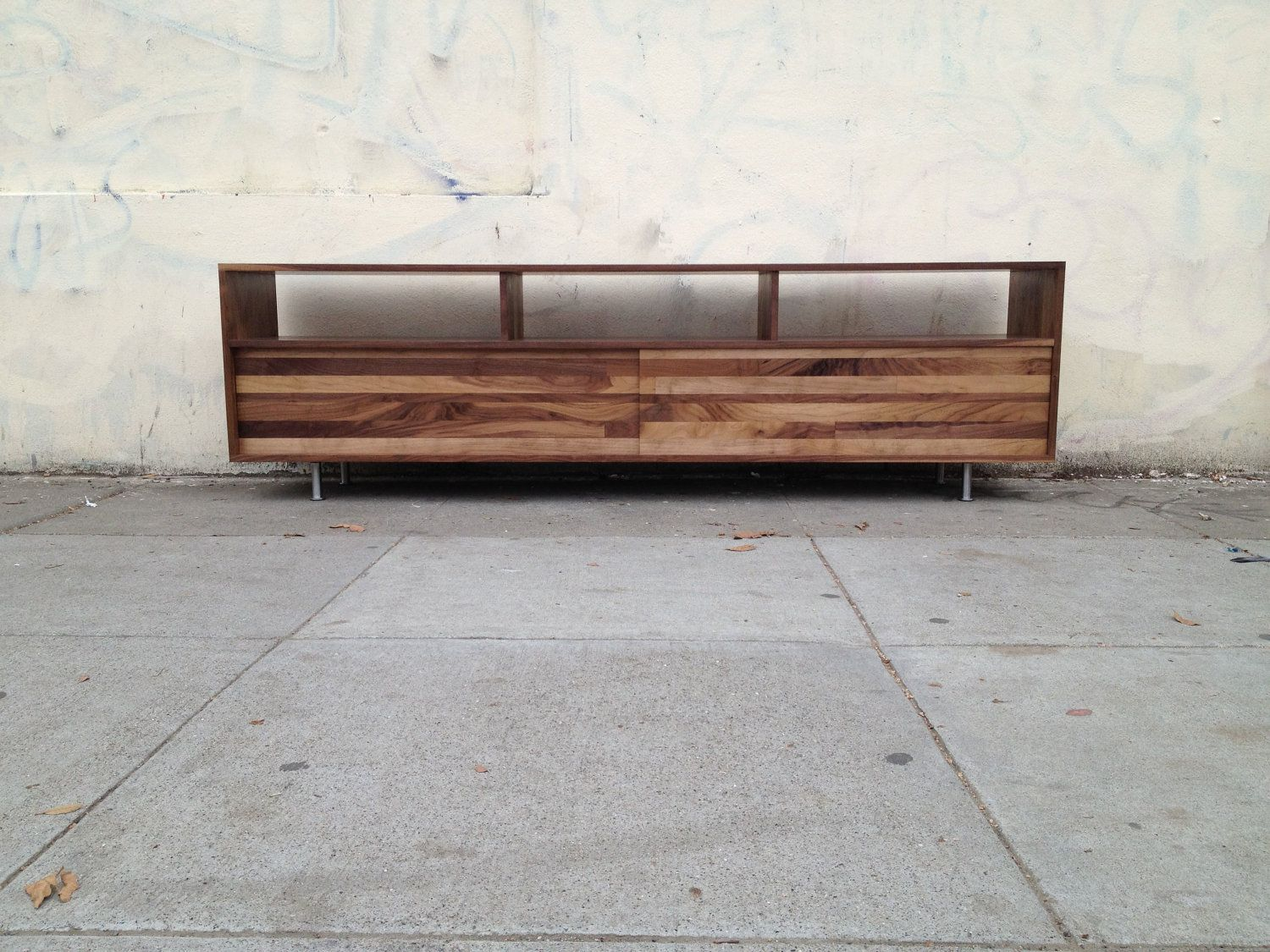 Long Low Mixed-Walnut Media Console (72 To 84 Inch
