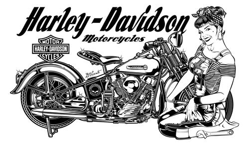 dibujo de moto estilo harley www.aretesparahombres.com