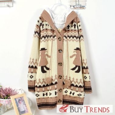 Korean Girl Pattern Single Breasted Long Sleeve Thicken Sweater on BuyTrends.com, only price $39.00