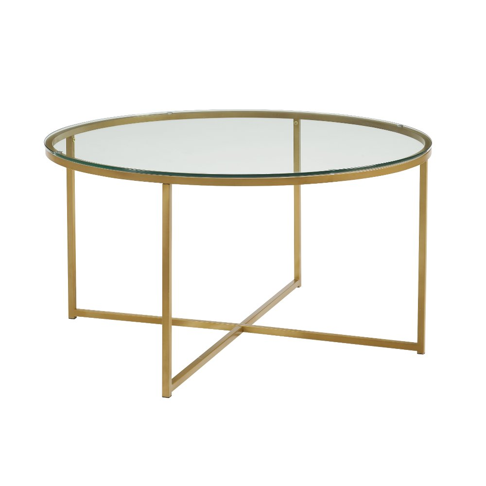 Glass Top 36 Inch Round Coffee Table With Gold Base In 2020