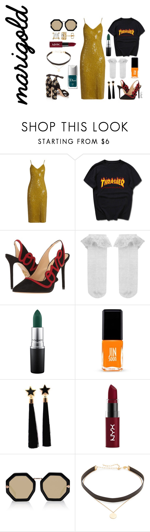 """marigold dress deux"" by gladyzjetson ❤ liked on Polyvore featuring Diane Von Furstenberg, Charlotte Olympia, Monsoon, MAC Cosmetics, Jin Soon, Dolce&Gabbana, NYX, Karen Walker, Jennifer Zeuner and Couture Colour"