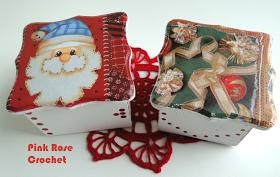 \ PINK ROSE CROCHET /: Caixinhas e Porta Guardanapos com Decoupage de Natal