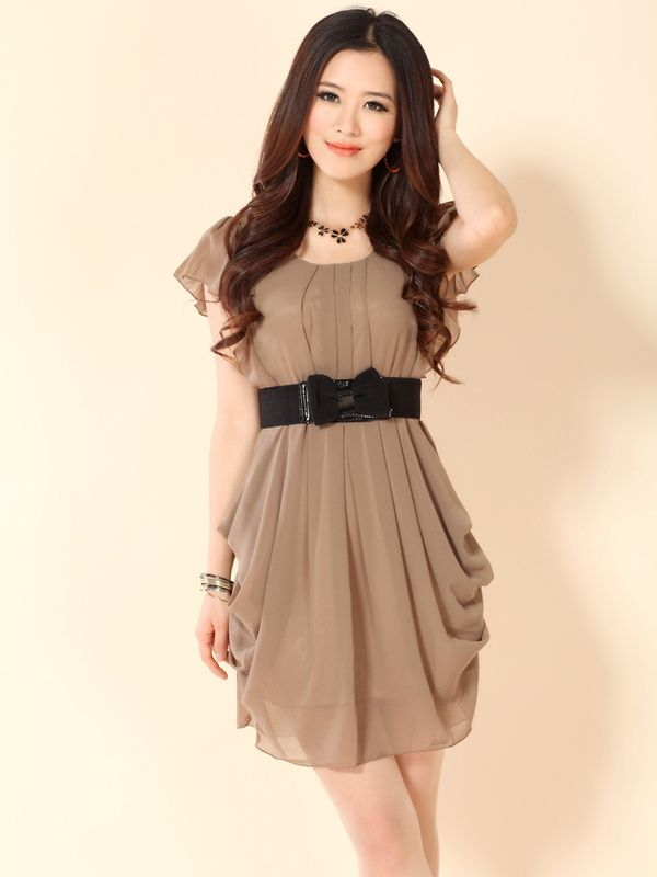 2012 new summer solid color round neck high waist short sleeve ...