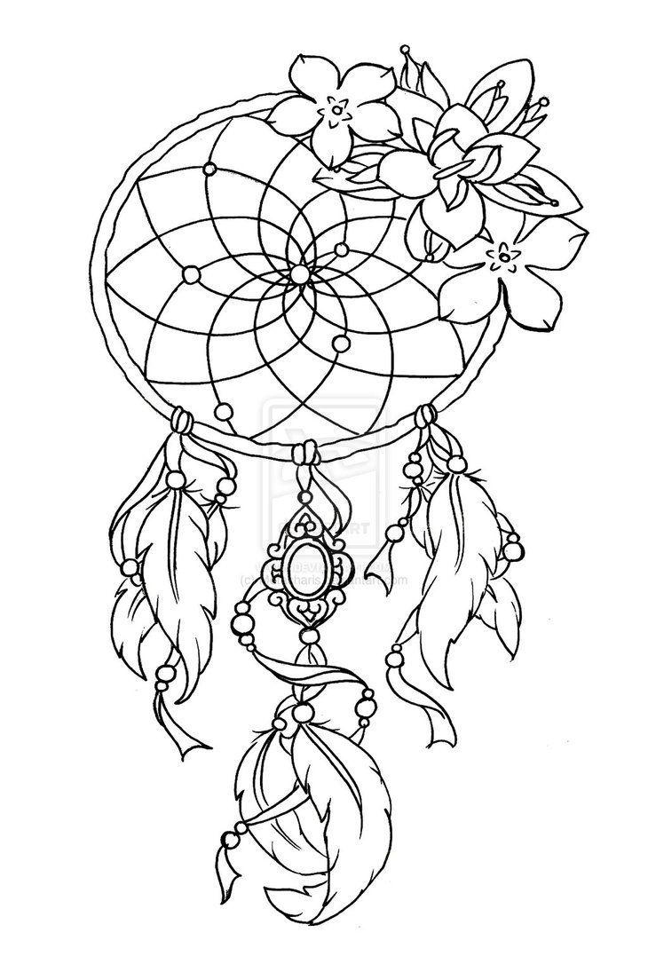 - Art Dream Catcher Tattoo Design, Dream Catcher Tattoo, Coloring