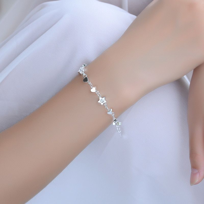 Women's 925 Sterling Silver Stars Ball Charm Beaded Double Chain Foot Anklet