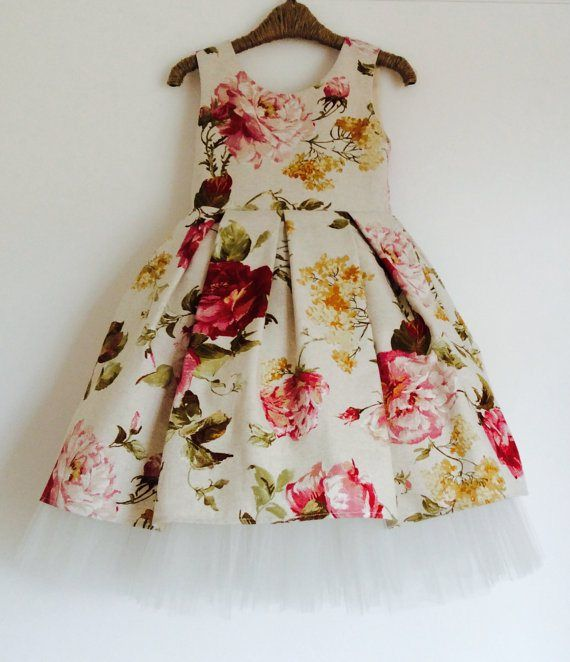 Floral cotton flower girl dress - see more info at http ...