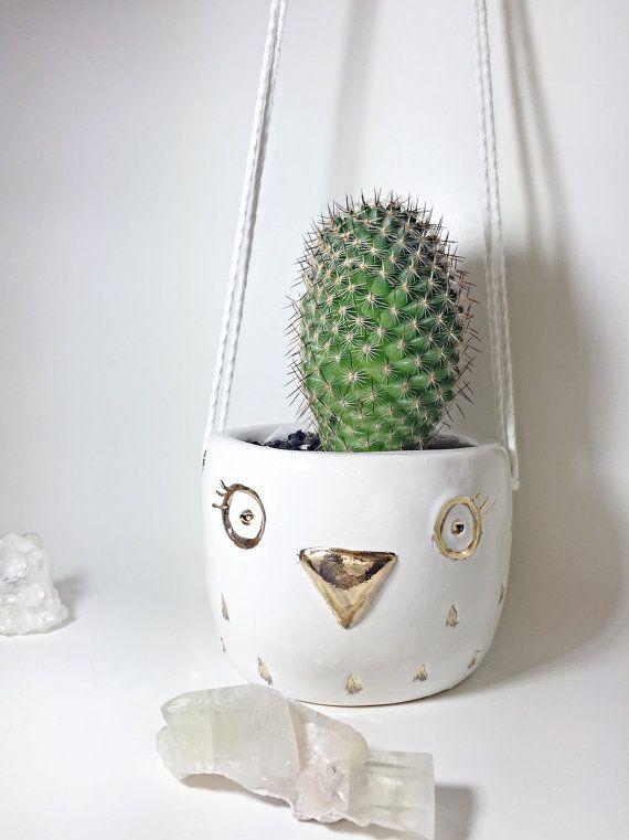 Hanging Owl Planter White And Gold Pot Freeshipping Owlplanter