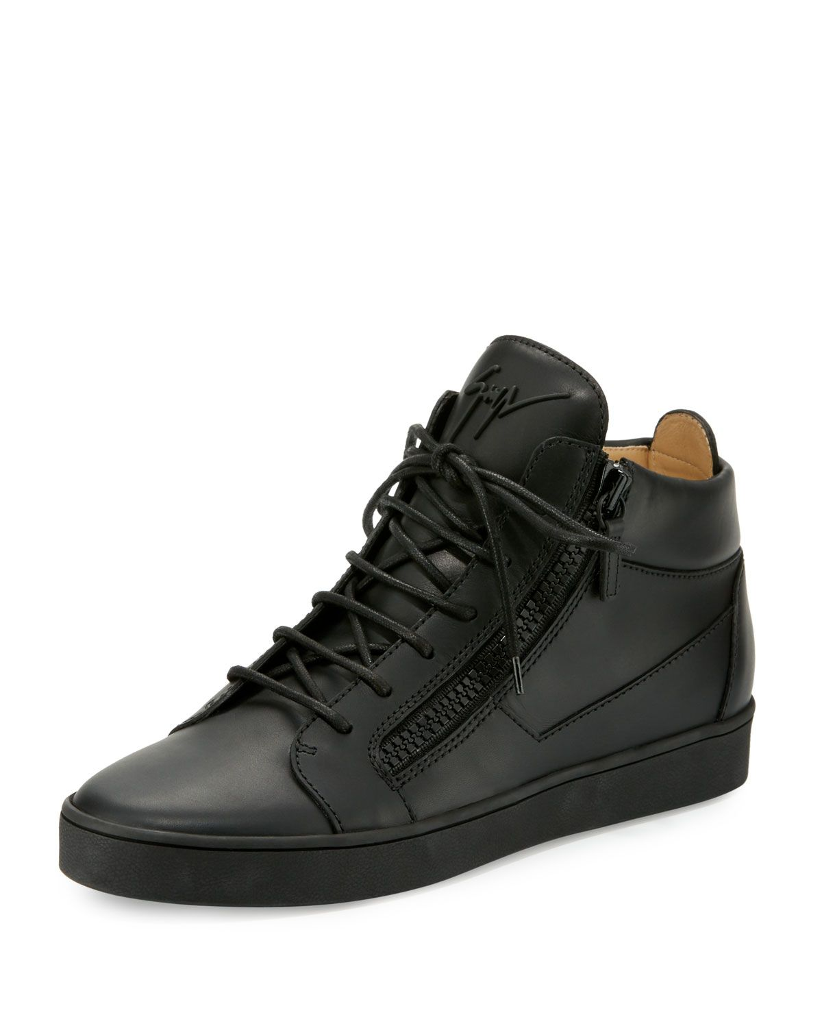 b5a0735ab1 Men s Tonal Leather Mid-Top Sneakers