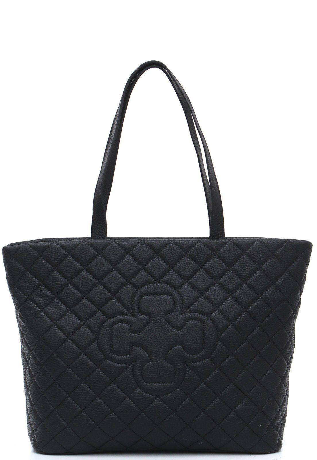 Bolso Capodarte Cuero Negro Matelassê
