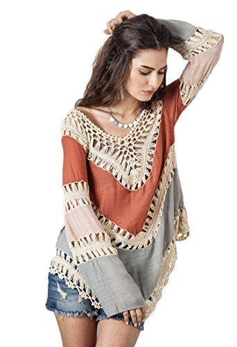 Viment Women's V-Neck Long Sleeve Knit Splice Irregular Hem Blouse Tops