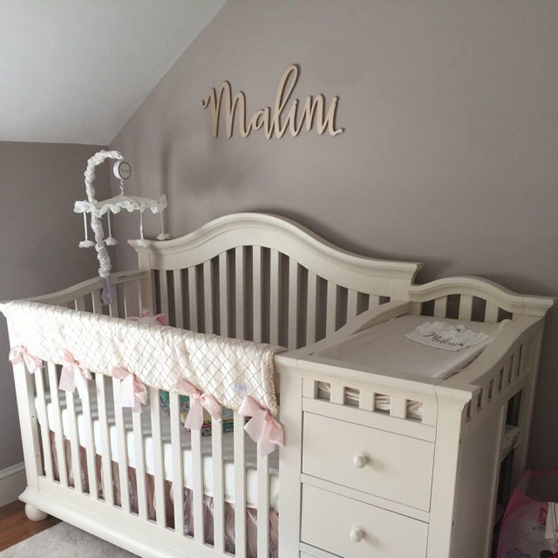 Nursery Name Sign for Baby Bedroom Wall Decor Wood