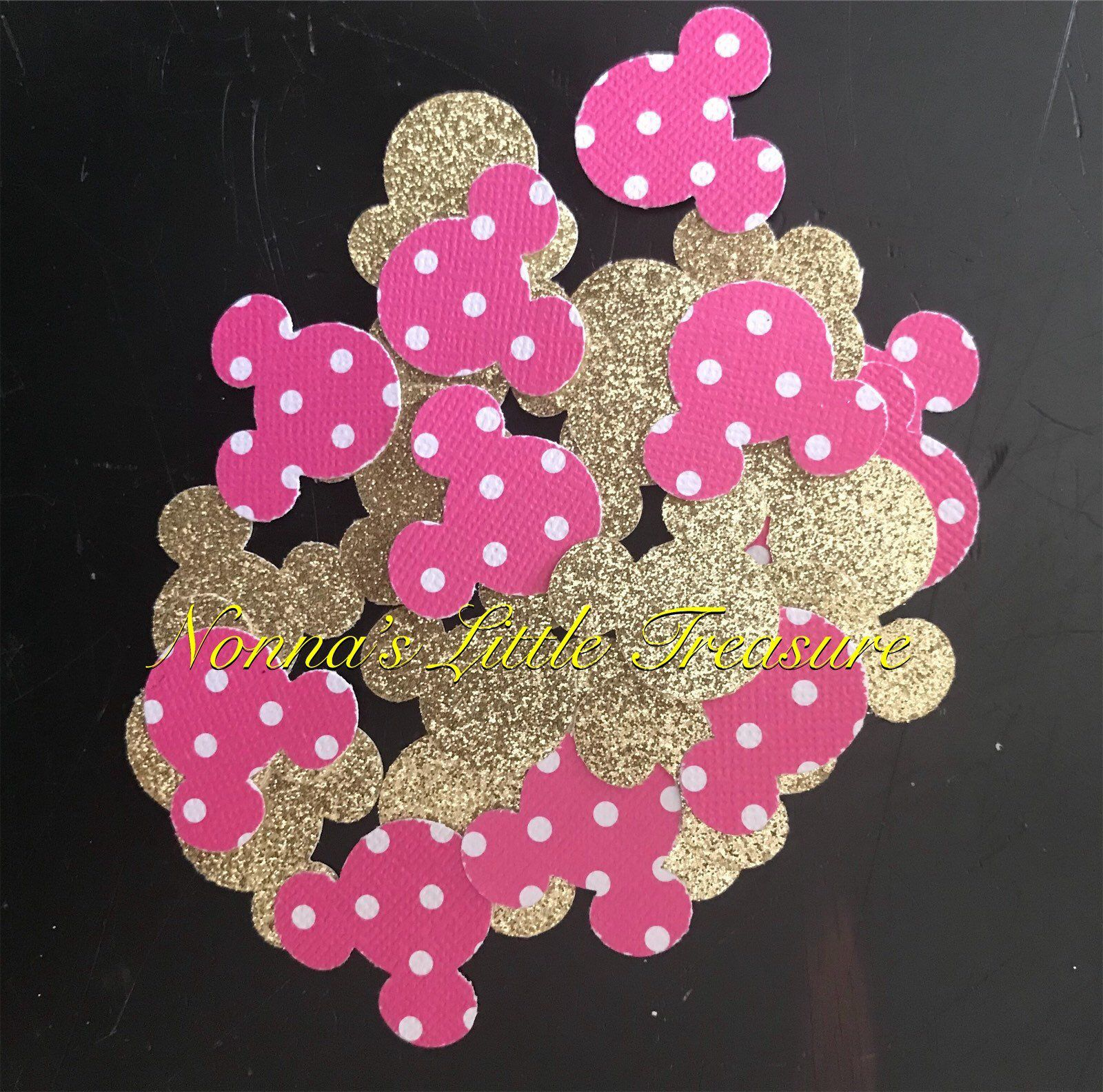 Minnie Mouse Confetti,Hot Pink Polka Dots And Gold Minnie