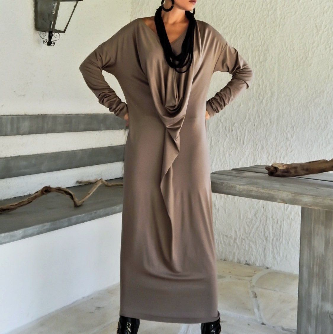 Dark taupe maxi long sleeve dress dark taupe kaftan asymmetric