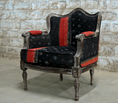 gorgeous chair upholstered with sari fabric