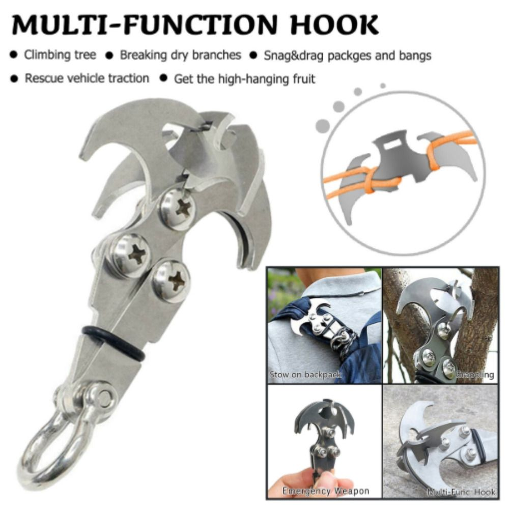 Stainless Steel Survival Folding Grappling Hook Outdoor Climbing Claw Tool