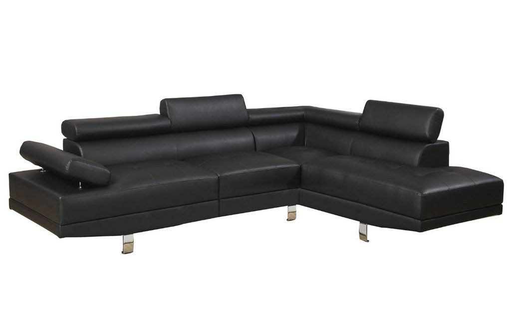 Modern Bonded Leather Sectional Sofa With Recliners Hay Hackney Velour Albert 2pc In Black Angle Shot
