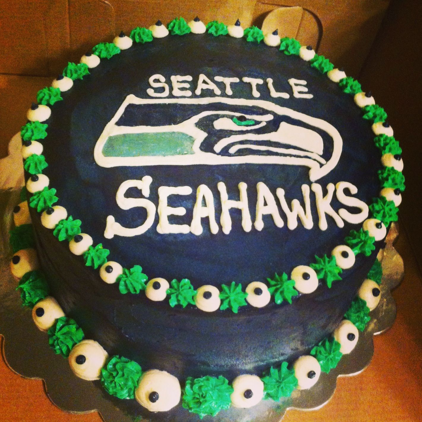 Sensational Seahawks Cake With Images Seahawks Cake Seattle Seahawks Cake Birthday Cards Printable Opercafe Filternl