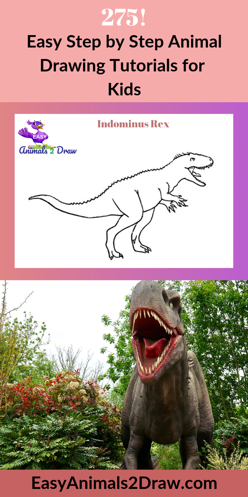 Learn how to draw an amazing Indominus Rex with this easy