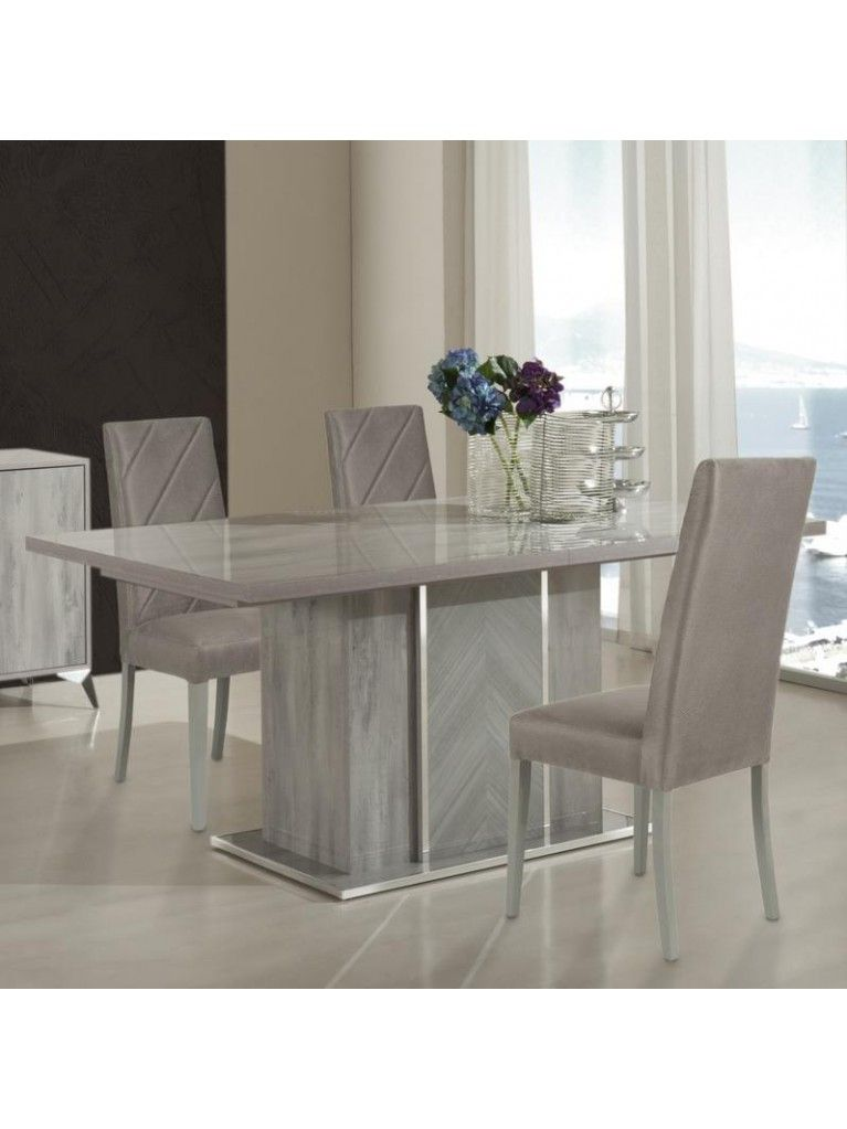 H2o Design Alexa Light Grey Glossy Extendable Table Grey Dining