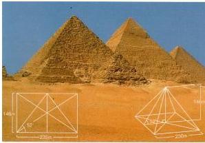 """피라미드>세계7대 불가사의 가운데 으뜸으로 꼽히는 이집트의 피라미드도 황금비를 갖고 있는 것으로 알려져있다. 린드파피루스로 유명한  기원전 1650년경 고대 이집트의 필경사였던 아메스가 """"신성한 비인 섹트가 우리의 피라미드의 비로 쓰여있다.""""고 기록해놓았기 때문 ..."""