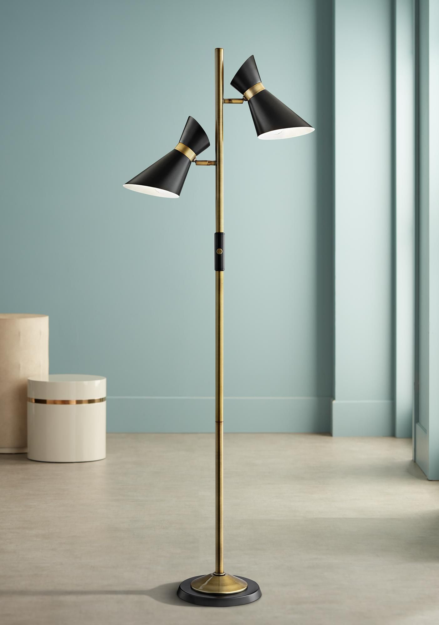 Floor Lamps Lite Source Jared Black And Antique Brass 2 Light Floor Lamp In 2020 Floor Lamp Lamp Floor Lights