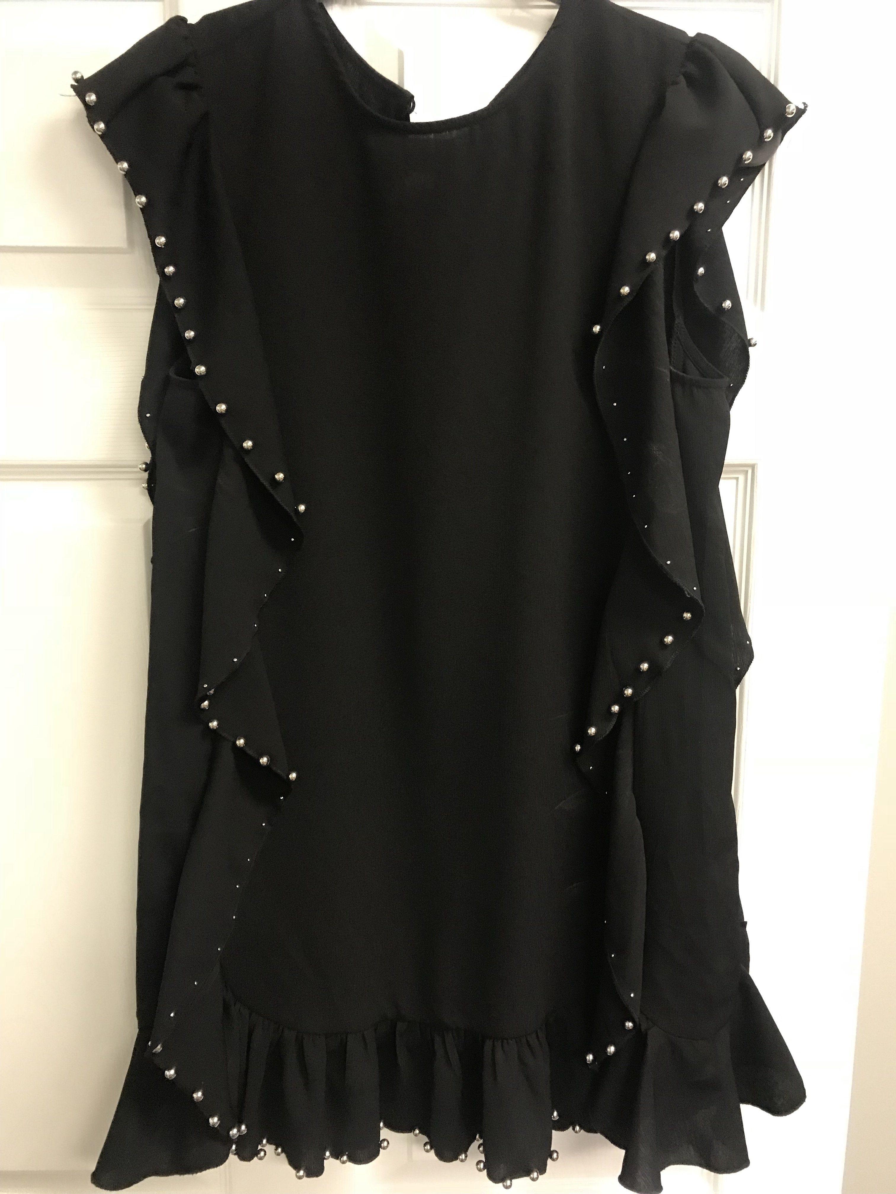 Studded Ruffle Dress Black Ruffle Dress Black Dress Fashion [ 4032 x 3024 Pixel ]
