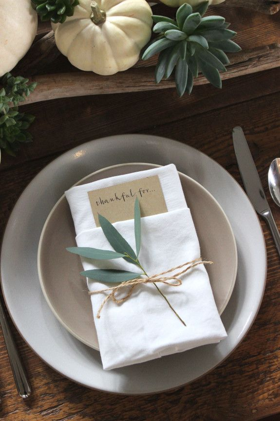 Simple place cards for a rustic Thanksgiving