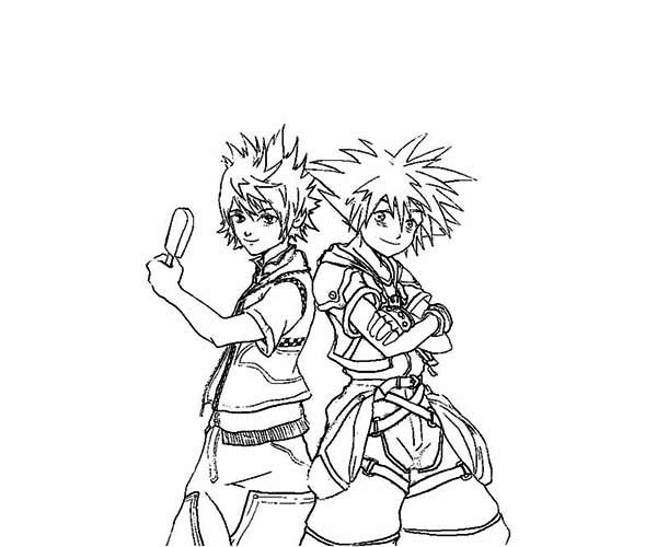 Sora And Riku From Kingdom Hearts Coloring Page Netart Heart Coloring Pages Coloring Pages Love Coloring Pages