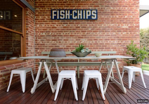 industrial style outdoor furniture. Industrial Style Outdoor Furniture. Table Area - Brick Wall With Vintage Sign Furniture T